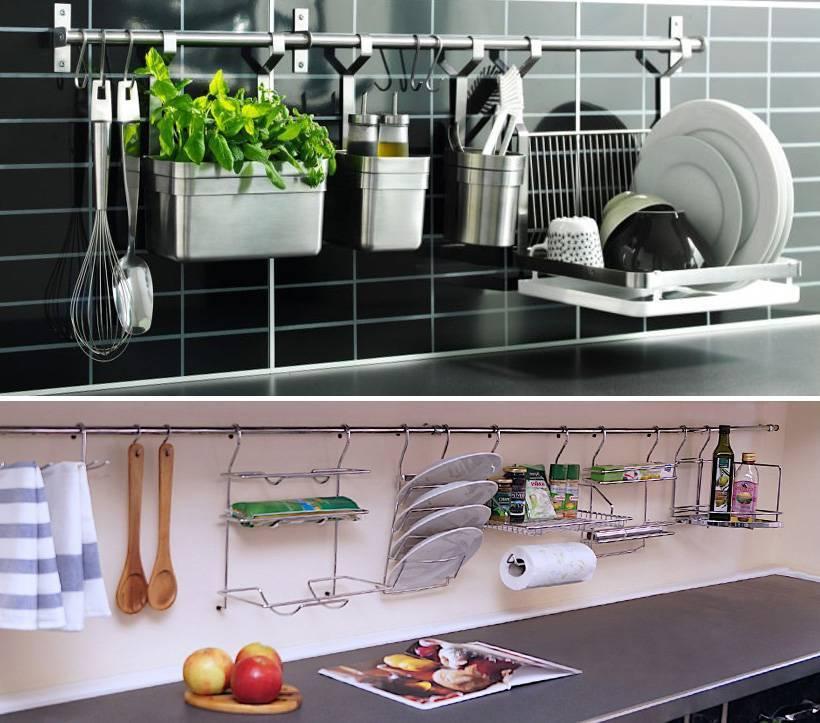 Рейлинги для кухни (69 фото): примеры системы кухонных рейлингов в интерьере, штанги черного цвета, под бронзу и другие варианты