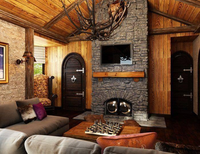 Гостиная в стиле шале: 100 фото красивых примеров дизайна