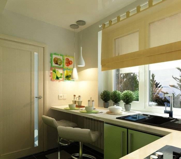 Современный дизайн кухни с окном