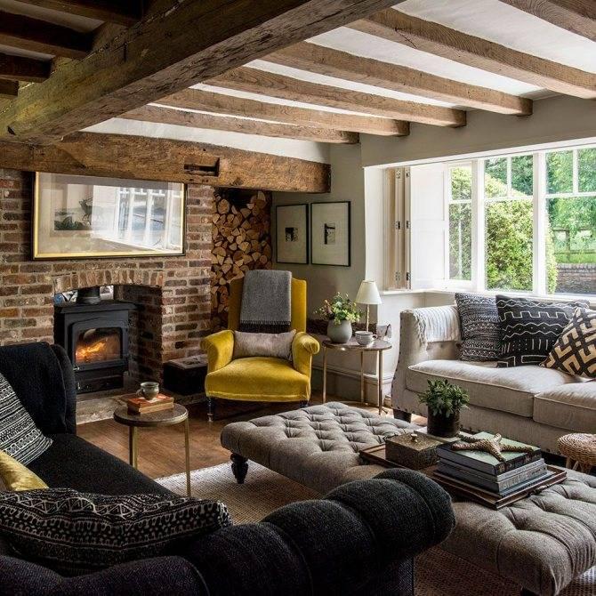Светлая гостиная в загородном доме: 100 фото идей дизайна