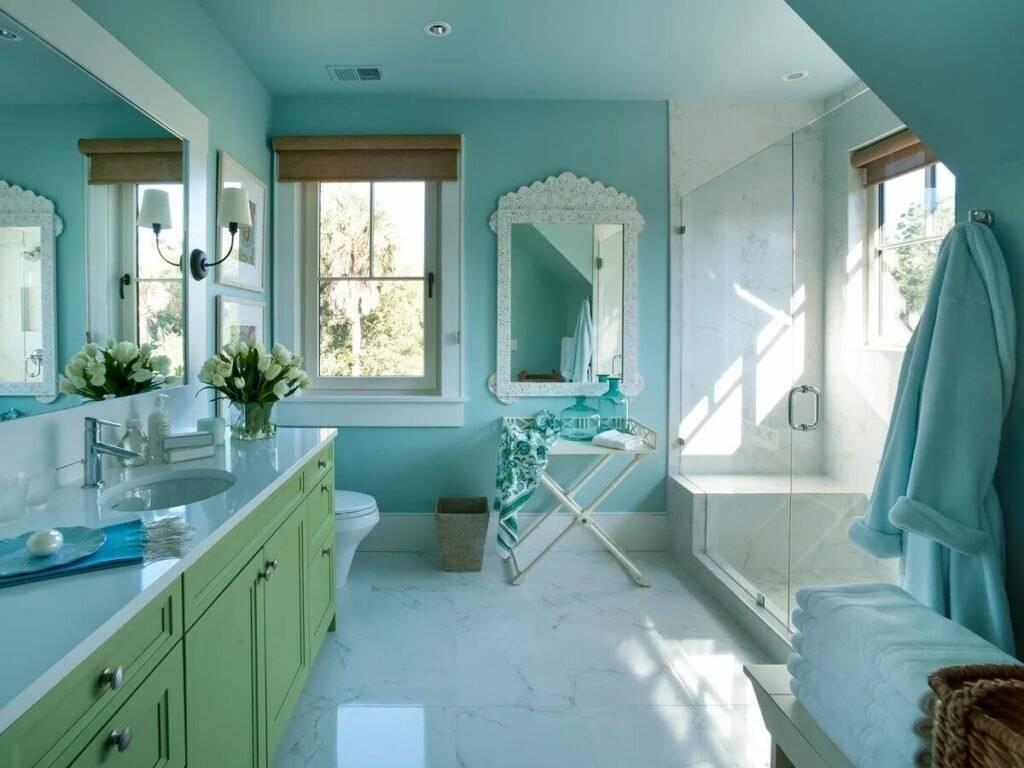 Дизайн ванной комнаты с покрашенными стенами (63 фото): варианты интерьера. виды краски. лучшие идеи