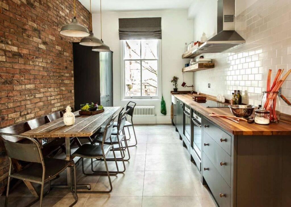 Кирпич на кухне: 55 фото в интерьере, варианты имитации