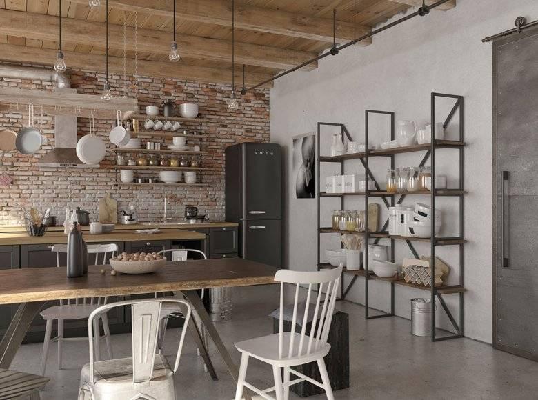 Кухни в стиле лофт: фото интересных дизайн-проектов интерьера, плитка