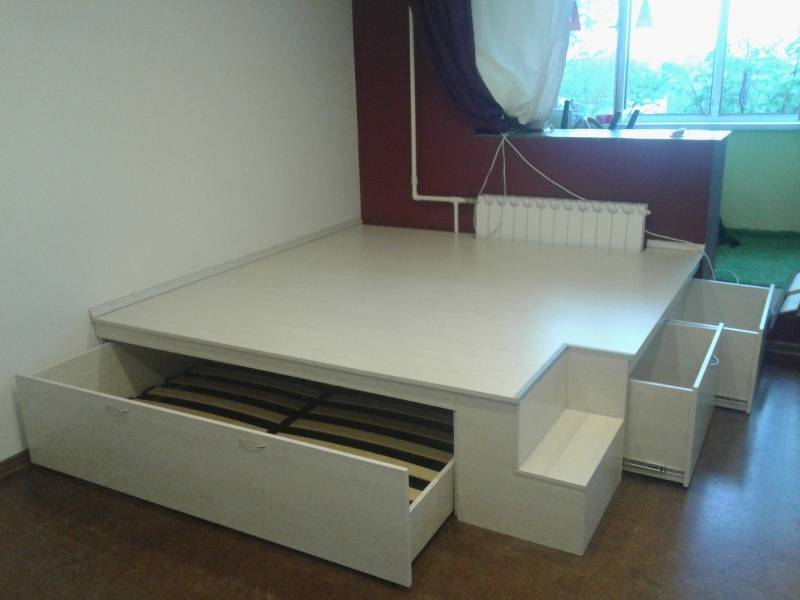 Кровать-подиум в интерьере: 205+ (фото) дизайна для комнат
