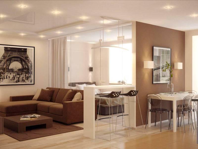 Зонирование кухни и гостиной, вариант с аркой или раздвижной перегородкой, как разделить, оформить переход + фото