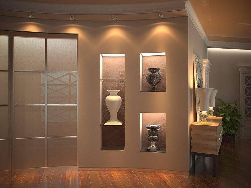 Ниша в стене из гипсокартона в интерьере — 100 фото идей