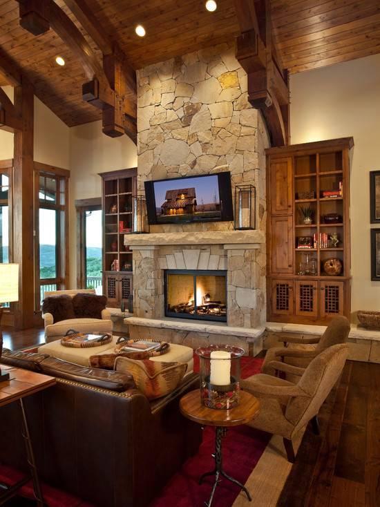 Стиль шале в дизайне интерьера гостиной комнаты
