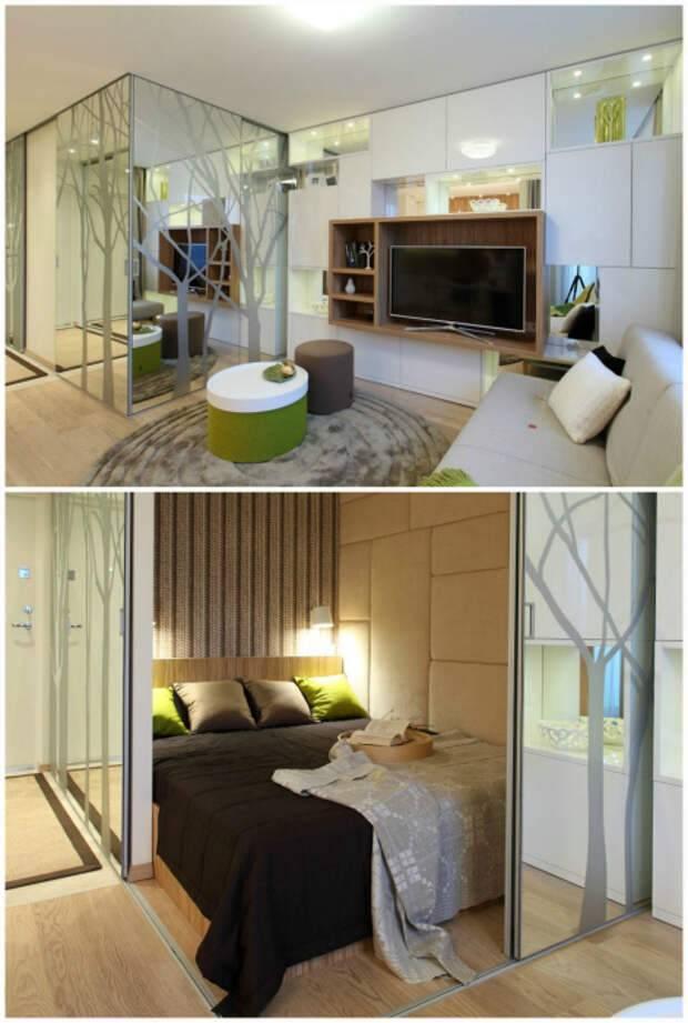 Оформление интерьера комнаты в однокомнатной квартире с кроватью