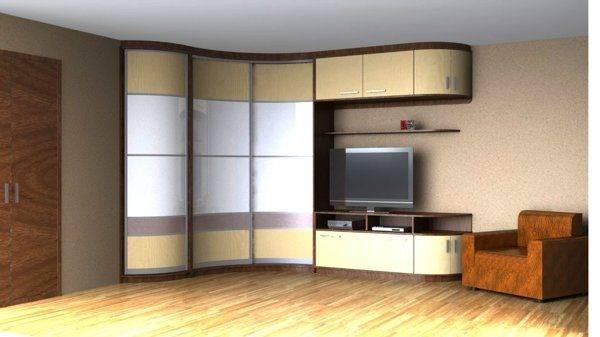 Выбор вида и дизайна углового шкафа-купе для гостиной комнаты