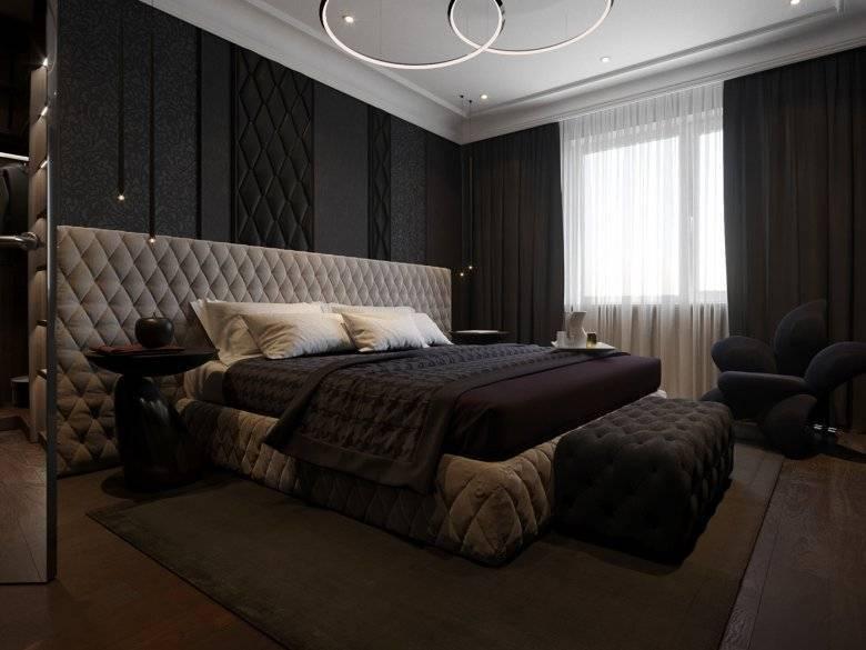 Спальня в темных тонах (88 фото): обои и шторы в дизайне интерьера, пол и стены цвета венге, кровать и другая мебель для маленькой комнаты
