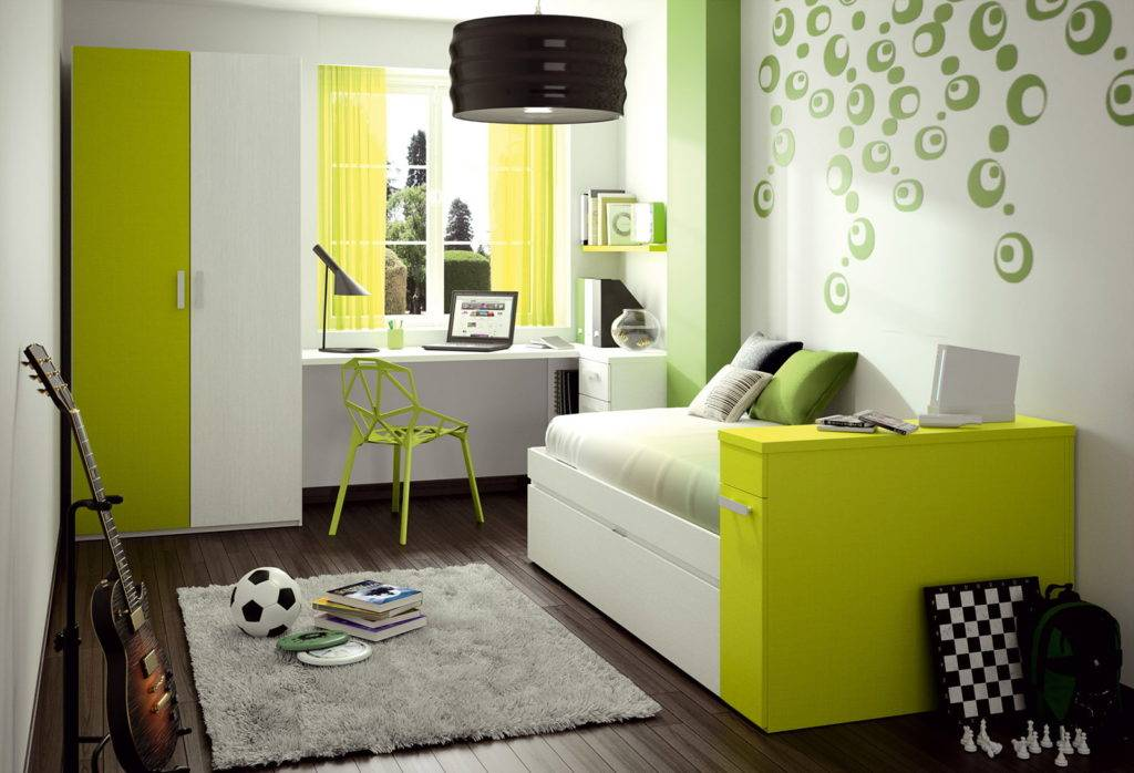 Зеленый цвет в интерьере - идеи дизайна комнат, цветовые сочетания (90 фото)