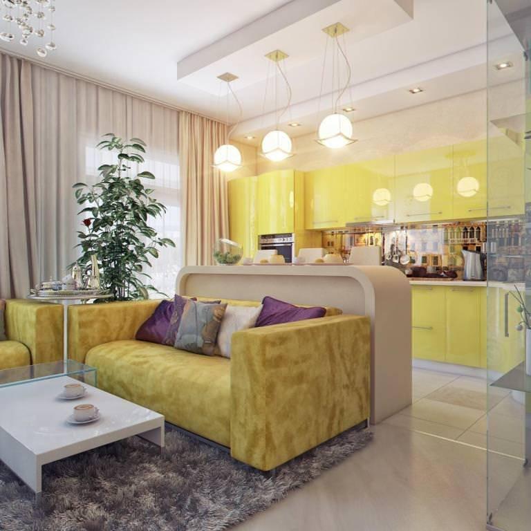 Маленькая кухня-гостиная: идеи, зонирование, дизайн, фото в интерьере