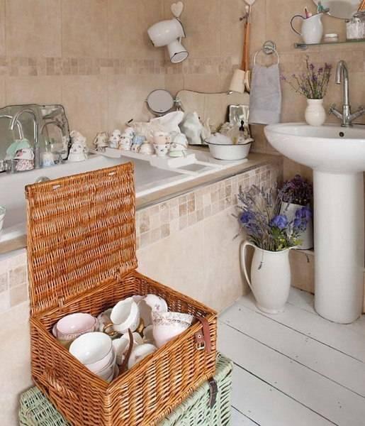 Оформление ванны в стиле шебби-шик