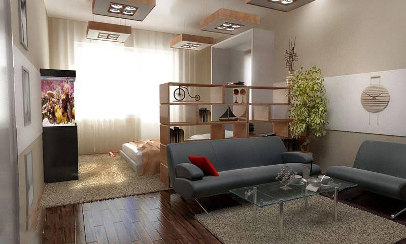 Спальня-гостиная 18 кв. м: дизайн и зонирование пространства при совмещении комнат в одной, интерьер прямоугольной