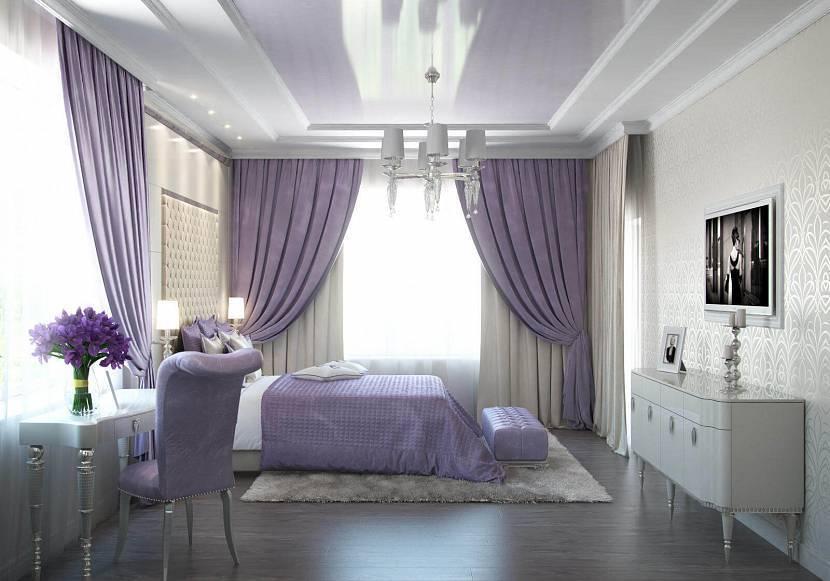 Фиолетовые шторы в интерьере [75 фото] в интерьере спальни и др комнат