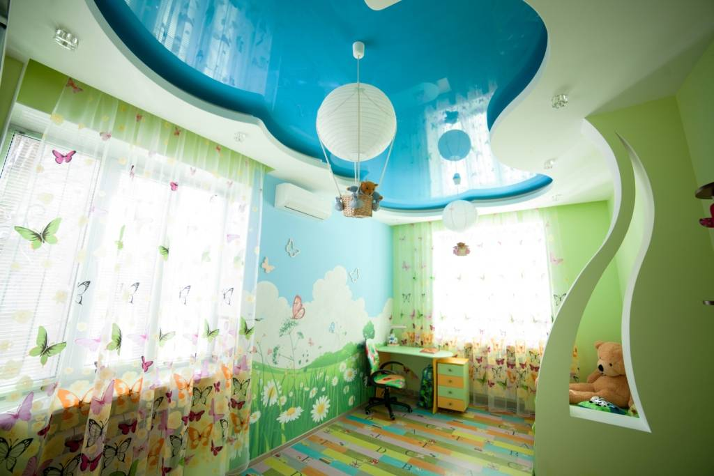 Натяжные потолки в детской комнате: фото, виды, характеристики