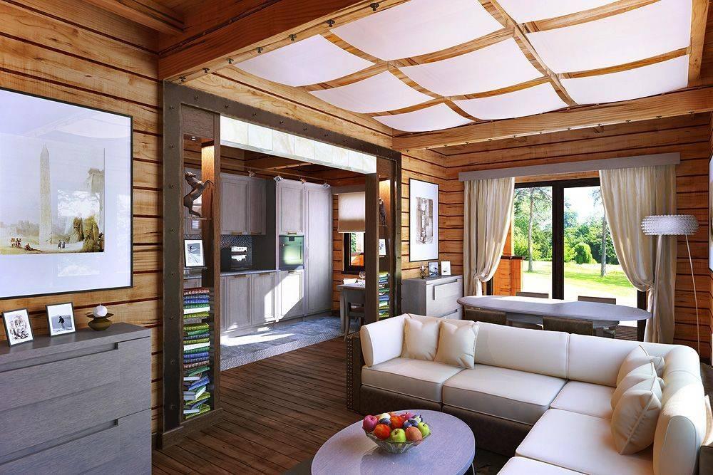 Интерьер гостиной в деревянном доме (50 фото)