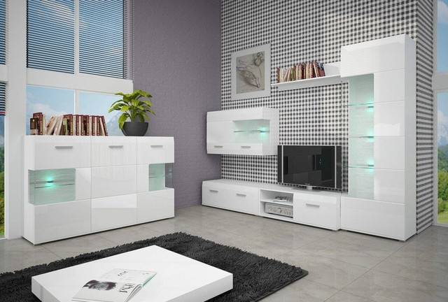 Особенности дизайна современной гостиной с глянцевой мебелью