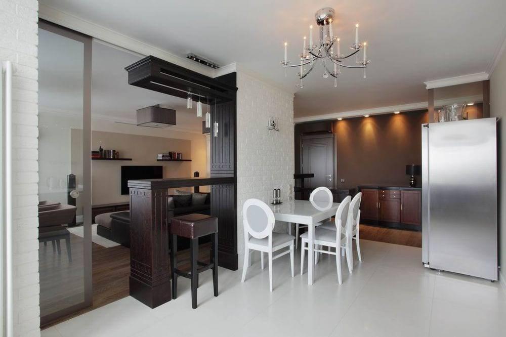 Перегородки между гостиной и кухней: виды и материалы
