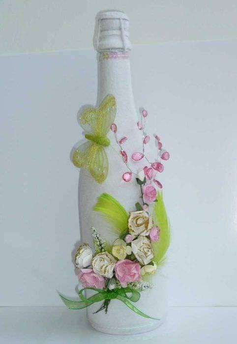 Декупаж бутылки шампанского (42 фото): идеи на 8 марта и на день рождения женщины, мастер-класс по декупажу своими руками