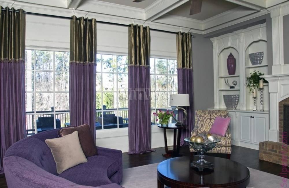 Подбираем шторы и занавески к фиолетовым обоям