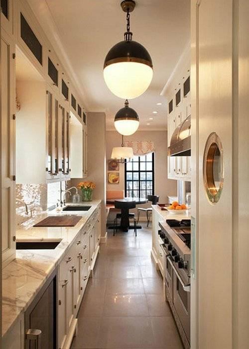 Дизайн узкой кухни: 100 фото стильных решений, особенности обустройства