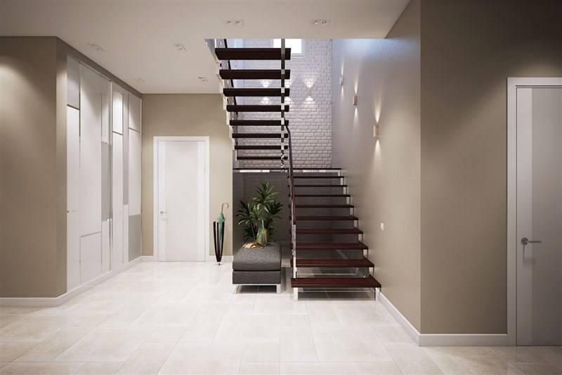 Дизайн холла с лестницей на второй этаж - оформление интерьера в частном загородном доме, отделка прихожей, лестничного пролёта + фото