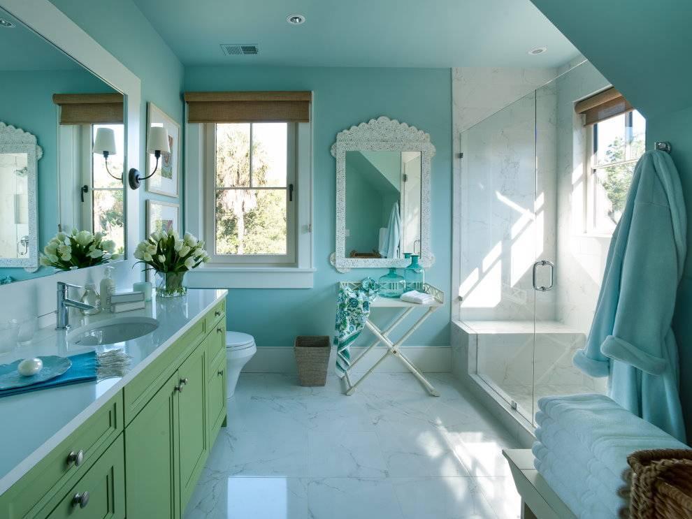 Дизайн для бирюзовой ванной комнаты