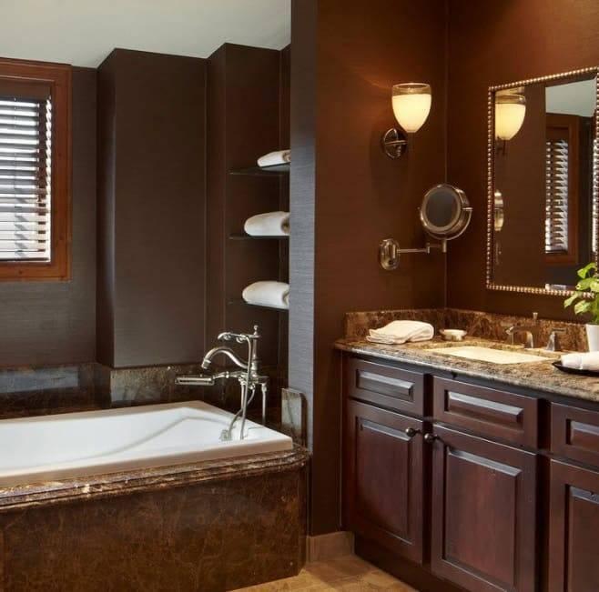 Коричневая плитка для ванной: особенности и варианты дизайна