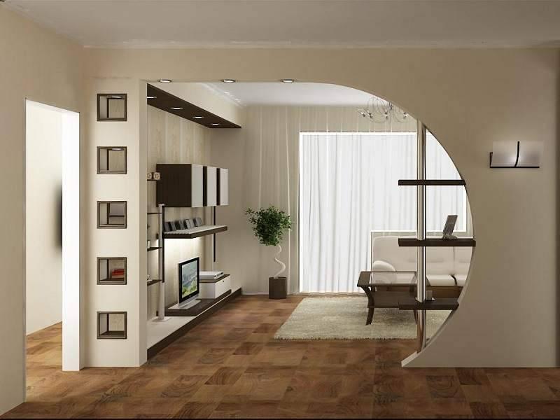 Зонирование однокомнатной квартиры (68 фото): перегородка из гипсокартона в интерьере для семьи с ребенком