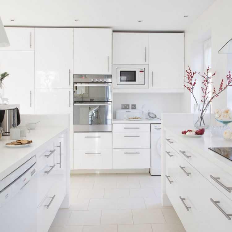 Белые глянцевые кухни: материалы, стили и дизайн