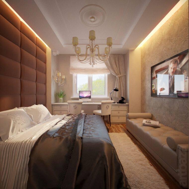 Дизайн узкой спальни (64 фото): интерьер и идеи планировки длинной комнаты с одним окном в конце. как обставить ее мебелью? как обустроить спальню в деревенском доме?