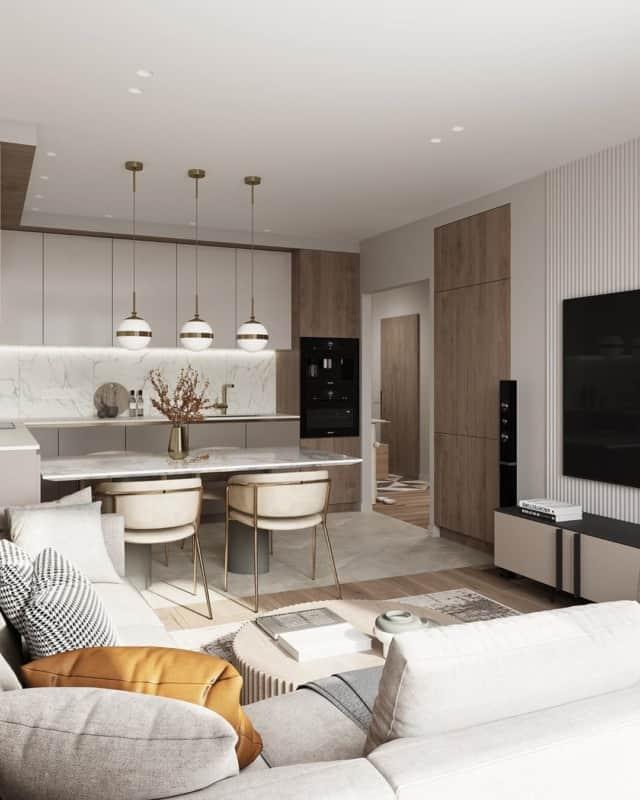 Дизайн кухни 15 кв. м (63 фото): особенности планировки и зонирования, проекты интерьера прямоугольной кухни-студии 15 квадратных метров с холодильником и балконом