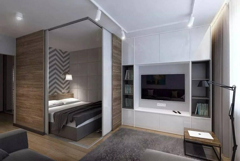 План однокомнатной квартиры: современный дизайн пространства, разделение студии площадью 40 кв. метров на зоны комнаты и кухни
