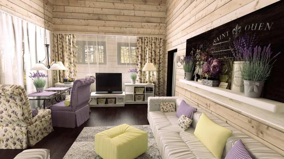 Светлая гостиная в загородном доме