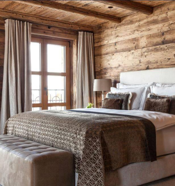 Как обустроить спальню в стиле шале (60 интересных интерьеров)