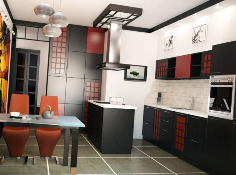 Дизайн кухни в японском стиле - фото интерьеров, мебель и аксессуары