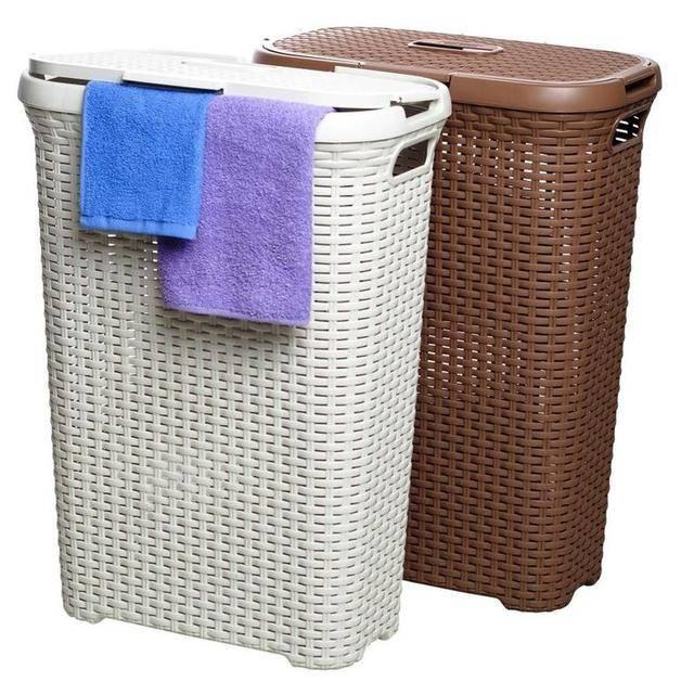 Плетеные корзины для белья – важная деталь в интерьере ванной