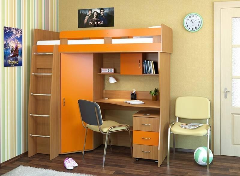 Интересные варианты детских кроватей-чердаков со шкафом и столом