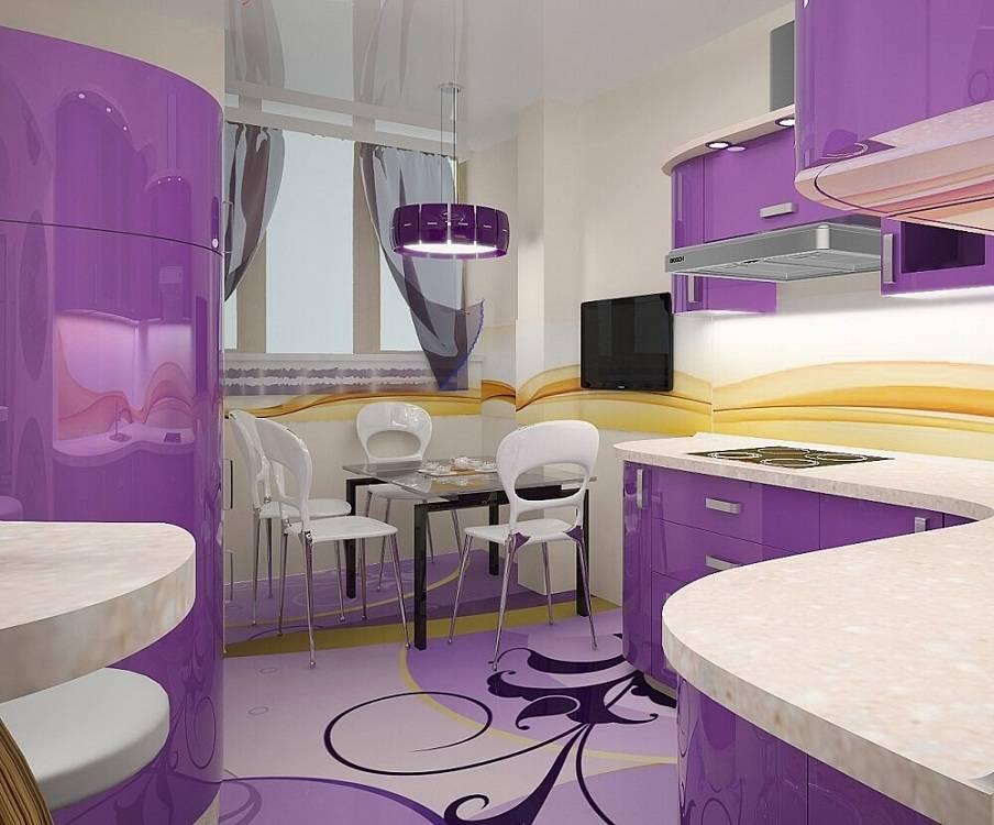 Кухня в сиреневых тонах: фиолетовый цвет в интерьере, варианты сочетания светлых и темных оттенков для стен и фасадов