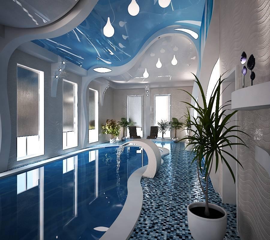 Бассейн в загородном доме: дизайн в интерьере и экстерьере