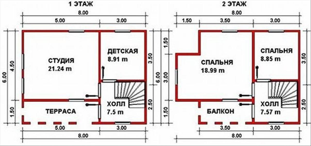 Одноэтажные жилые дома 6×8