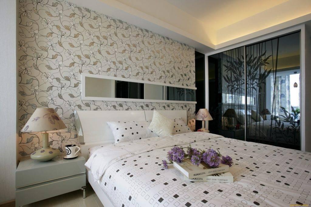 Каким образом выбрать обои в спальню комбинированные фото дизайн