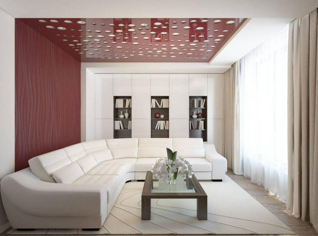Натяжные потолки для гостиной: 50 фото вариантов дизайна потолка