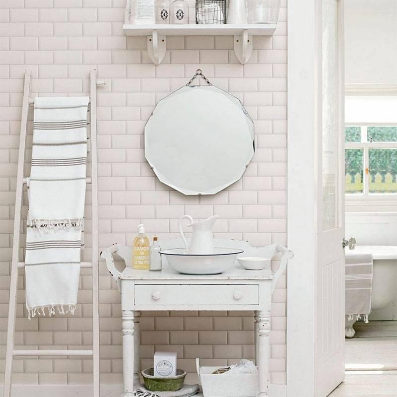 Дизайн интерьера плиткой шебби-шик в ванной
