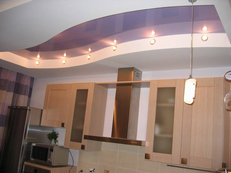 Потолок из гипсокартона на кухне: 80 фото-идей