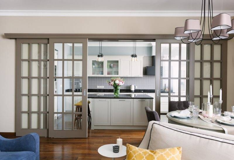 Перегородка между кухней и гостиной: фото, дизайн, виды