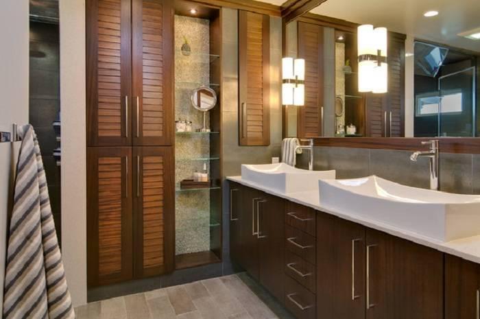 Встроенный шкаф в ванной комнате - как выбрать? | фото.