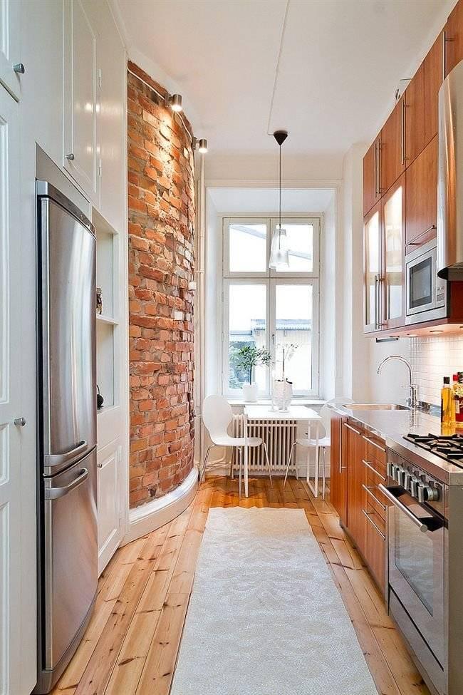 Дизайн узкой кухни: расстановка мебели и техники, цветовое оформление стен и организация освещения комнаты