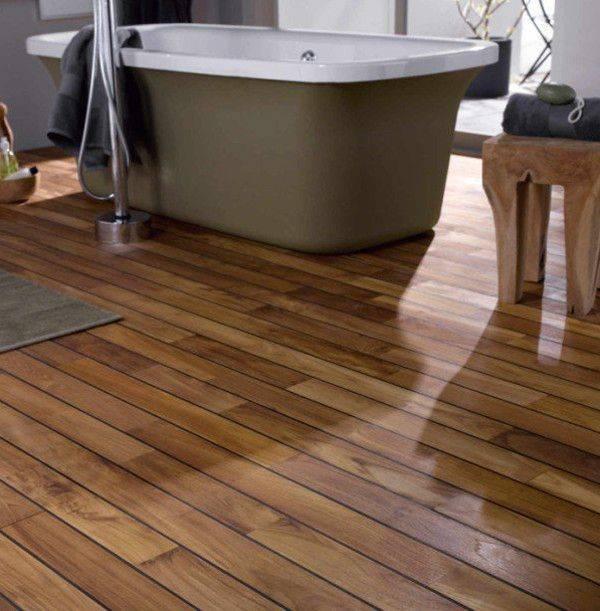 Деревянный пол в ванной (38 фото): современные технологии позволяют и это!